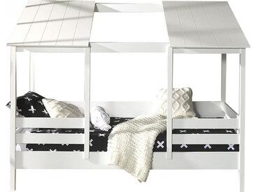 Lit cabane 90x200 pin massif blanc avec barreaux et toit