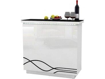 Meuble bar design blanc 6 niches 8 supports verres