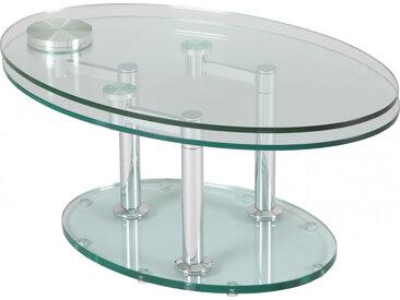Table basse design en verre  trempé ovale articulée