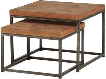 Lot de 2 tables d'appoint gigogne carrée teck massif plateau mosaïque