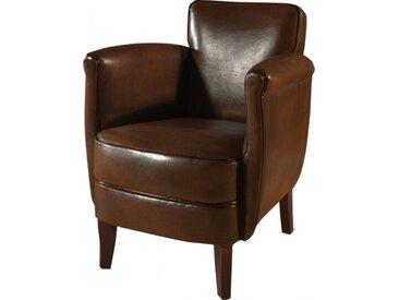 Fauteuil club Minus cuir basane marron