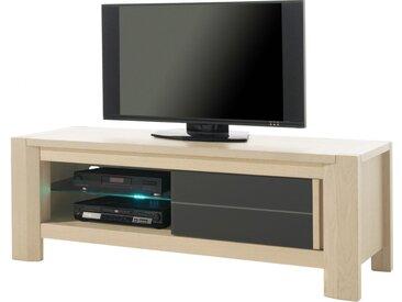 Banc TV chêne blanchi 1 porte coulissante décor verre anthracite 1 étagère verre