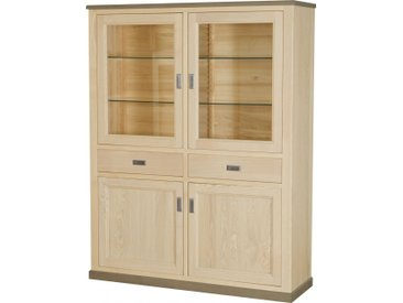Buffet vaisselier 4 portes 2 tiroirs frêne massif blanchi