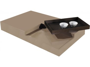 Table basse design laque taupe plateau de service