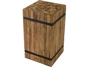 Table d'appoint carrée teck recyclé cerclé métal – SAMY