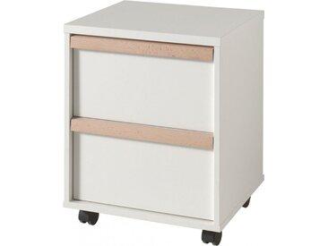 Caisson de bureau blanc 2 tiroirs de rangement poignée ligne bois clair avec roulettes