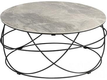 Table basse ronde plateau céramique structure acier anthracite