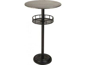 Table de bar ronde plateau zinc 1 étagère pieds métal - HELINO
