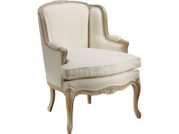 Fauteuil bergère Louis XV hêtre massif laqué blanc tissu blanc