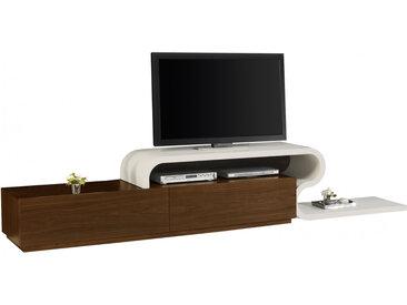 Banc TV laque blanc brillant 2 tiroirs Noyer