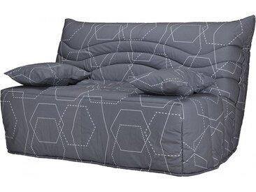 Banquette BZ tissu gris imprimé matelas 140x200 Sofaconfort mousse