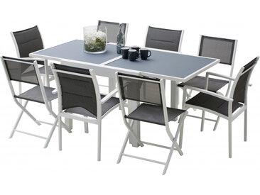 Ensemble Modulo 8 table carrée L90 4 fauteuils 4 chaises aluminium blanc
