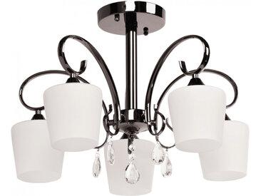 Lustre en métal nickel et verre blanc 5 ampoules - MEGAPOLIS