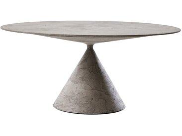 DESALTO table oval CLAY (120x180 cm / Béton gris lune - Base en polyuréthane / Plateau MDF avec revêtement)