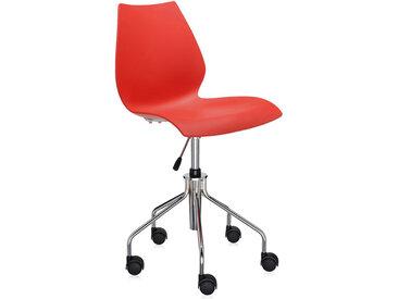 KARTELL chaise à roulettes MAUI (Pourpre - polypropylène coloré dans la masse / acier chromé)