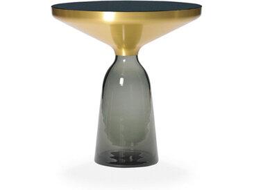 CLASSICON table BELL SIDE TABLE (gris quartz - Structure en laiton, plateau en Cristal noir et base en verre soufflé)