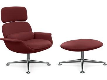 KNOLL fauteuil pivotant KN02 avec ottoman KN03 en cuir avec dossier haut inclinable (Volo Garnet - Revêtement Cat. X et structure en aluminium [...]