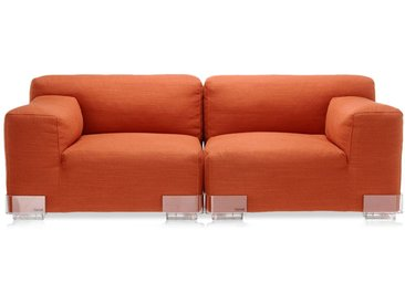 KARTELL Sofa Plastics Duo 1,76 mt - Composition 1 (Orange - polycarbonate, Coton, Viscose, Lin, Soie)