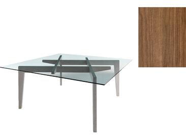 HORM table AUTOREGGENTE 180x180 cm (Noyer foncé - bois et verre)