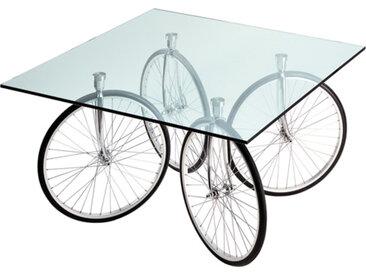 FONTANA ARTE table avec roues de bicyclette TOUR (Verre flotté biseauté - Verre)
