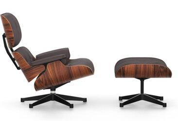 VITRA fauteuil cuir chocolat EAMES LOUNGE CHAIR & OTTOMAN nouvelles dimensions (Base lucida/fianchi neri, struttura Santos Palissandro, Pelle [...]