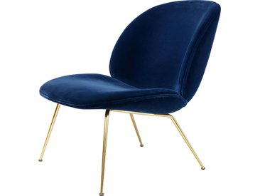 GUBI fauteuil BEETLE LOUNGE CHAIR CONIC BASE (Blue 420 base ottone - tissu Gubi Velvet)