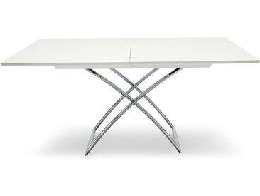 CONNUBIA table pliante MAGIC-J (Laqué blanc brillant - bois/Métal chromé)
