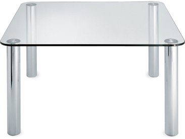 ZANOTTA table MARCUSO 140x140 cm (Transparent - cristal et acier inox)