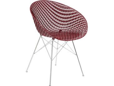KARTELL chaise SMATRIK (Prune / Chrome - polycarbonate coloré dans la masse et acier)