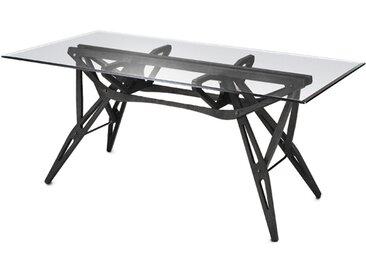 ZANOTTA table avec étage en verre REALE (90x220 cm - Rovere nero)