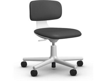 VITRA chaise de bureau à roulettes ROOKIE (Cuir - Cuir Cat. L20 et base soft grey)