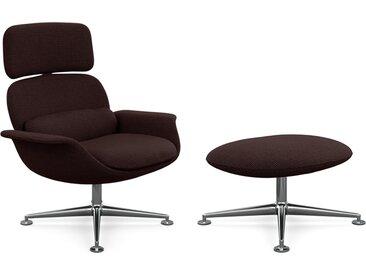 KNOLL fauteuil pivotant KN02 avec ottoman KN03 en tissu avec dossier haut inclinable (Cato Gray - Revêtement Cat. B et structure en aluminium [...]