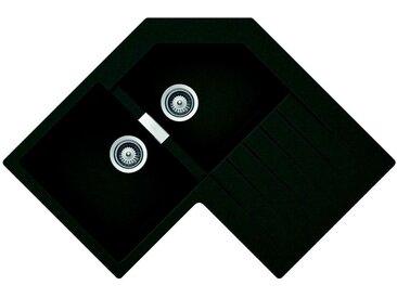 SCHOCK évier d'angle avec 2 bacs à gauche et égouttoir PRIMUS C200 (Asphalt - Cristalite®)