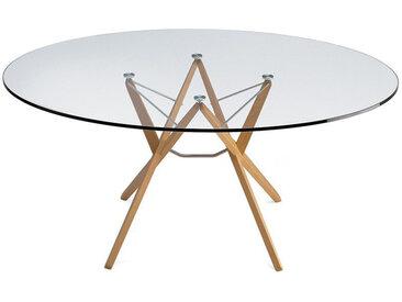 ZANOTTA table ORIONE (Ø 125 cm - Verre et chêne naturel)