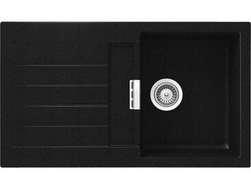 SCHOCK évier avec bac et égouttoir réversible SIGNUS D100 (Noir pur - Cristadur® Extreme)