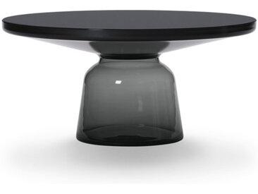 CLASSICON table BELL COFFEE TABLE (gris quartz - Structure en métal noir, plateau en Cristal noir et base en verre soufflé)