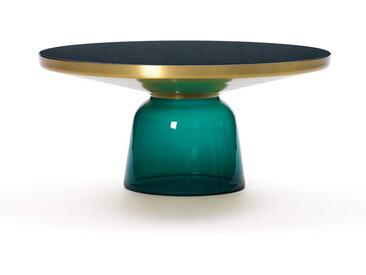 CLASSICON table BELL COFFEE TABLE (Vert émeraude - Structure en laiton, plateau en Cristal noir et base en verre soufflé)
