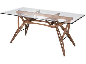ZANOTTA table avec étage en verre REALE (90x180 cm - Chêne teinté noyer)