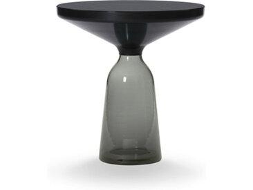 CLASSICON table BELL SIDE TABLE (gris quartz - Structure en métal noir, plateau en Cristal noir et base en verre soufflé)
