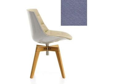 MDF ITALIA chaise rembourrée avec pieds en chêne FLOW CHAIR (Blanc / 142 - Polycarbonate / Cat. B tissu Gin)