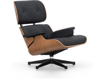 VITRA fauteuil cuir noir EAMES LOUNGE CHAIR nouvelles dimensions (Base brillante/profils noirs, structure cerisier américan, Cuir noir Premium - [...]
