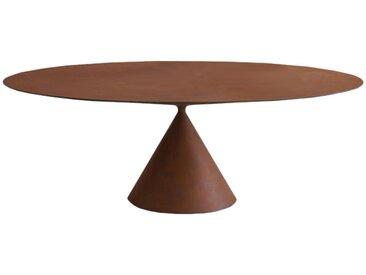 DESALTO table oval CLAY (120x218 cm / Metal Rusty - Base en polyuréthane / Plateau MDF avec revêtement)