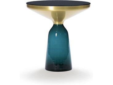 CLASSICON table BELL SIDE TABLE (bleu Montana - Structure en laiton, plateau en Cristal noir et base en verre soufflé)