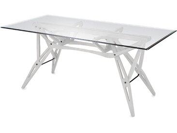 ZANOTTA table avec étage en verre REALE (90x200 cm - Chene Blanc)