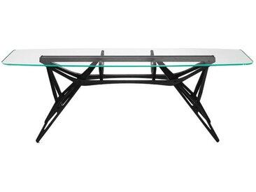 ZANOTTA table avec étage en verre REALE CM (90x220 cm - Chêne teinté noir, cristal extra-clair)