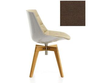 MDF ITALIA chaise rembourrée avec pieds en chêne FLOW CHAIR (Blanc / 362 - Polycarbonate / Cat. B tissu Gin)