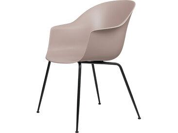 GUBI chaise avec accoudoirs BAT DINING CHAIR avec la base noir (Sweet pink - polypropylène et acier)