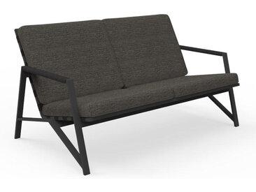 TALENTI canapé à 2 places d'extérieur COTTAGE Collection Icon (Graphite / Dark grey - Tissu et aluminium peint)