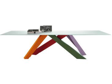 BONALDO table BIG TABLE (Rouge corail/Orange/Vert/Lilla 300 cm - pleateau en cristal extra-clair traité à l'acide blanc / Pieds en acier verni)