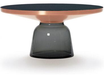 CLASSICON table BELL COFFEE TABLE (gris quartz - Structure en cuivre, plateau en Cristal noir et base en verre soufflé)